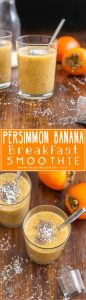 Start your day with this dairy free persimmon banana breakfast smoothie! It will boost your energy and help you stay healthy! | happyfoodstube.com