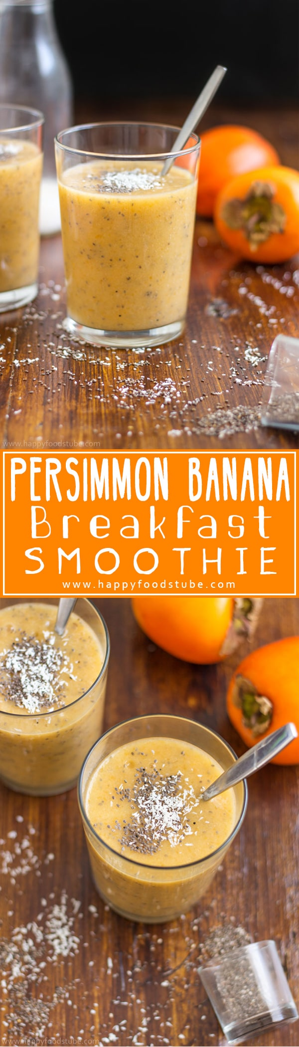 Start your day with this dairy free persimmon banana breakfast smoothie. It will boost your energy and help you stay healthy. Healthy recipe to start your day