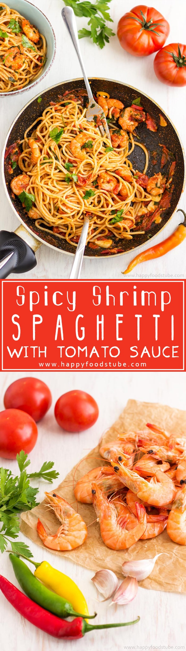 Spicy Shrimp Spaghetti with Tomato Sauce is an easy and delicious dish ready in 20 minutes! Super simple family meal recipe! | happyfoodstube.com