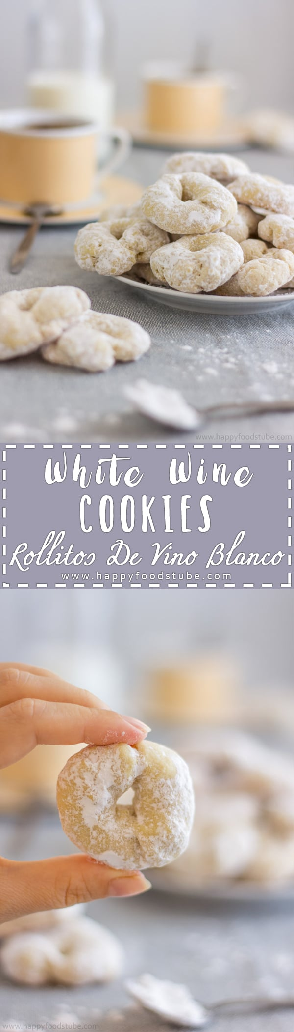 White wine cookies - rollitos de vino blanco are delicious sweet treats! If you haven't tried them yet, here is your chance! They are easy to make & fast to bake! | happyfoodstube.com