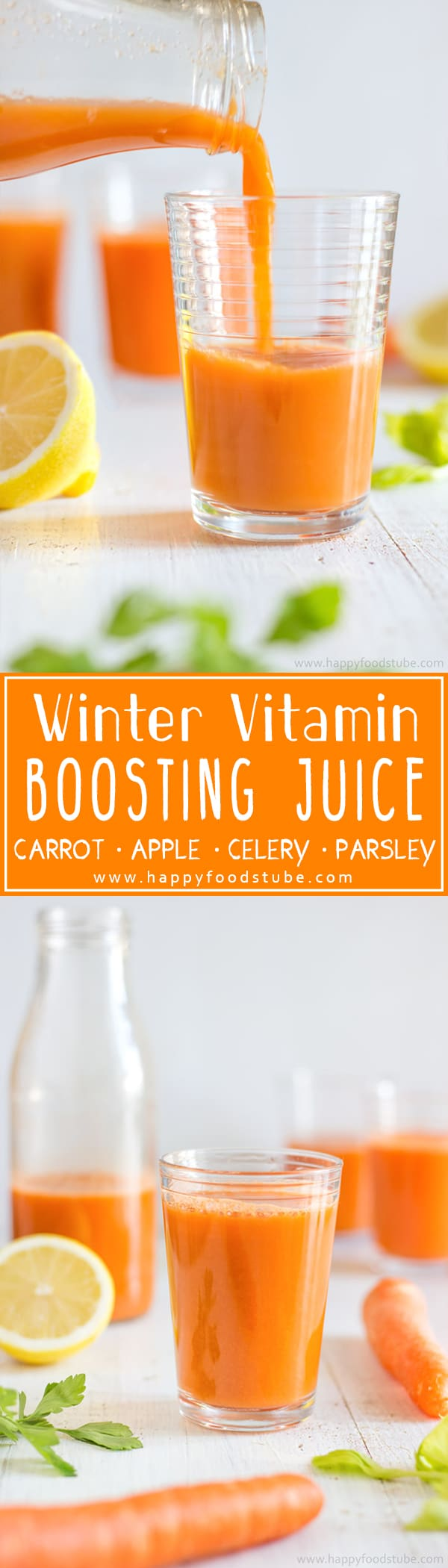 Winter Vitamin Boosting Juice will help you stay healthy throughout cold season. It's homemade, rich in Vitamin C & ready in 5 minutes. Only 5 ingredients - carrot, apple, celery and parsley. #vitaminboosting #juice #recipe #weightloss #healthy #juicing #cleanse #juicer #diet #fresh #homemade #howtomake #cold #vitamin #drinks #vitaminc