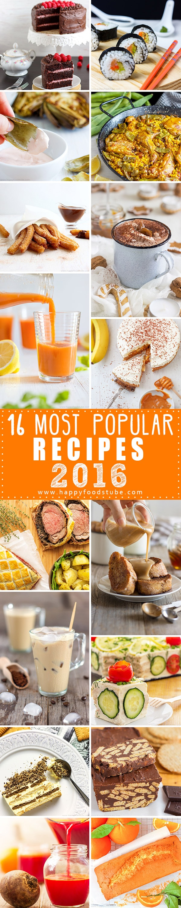 Check out our 16 most popular recipes of this year! Homemade dessert recipes were the ones you loved most in 2016!   happyfoodstube.com