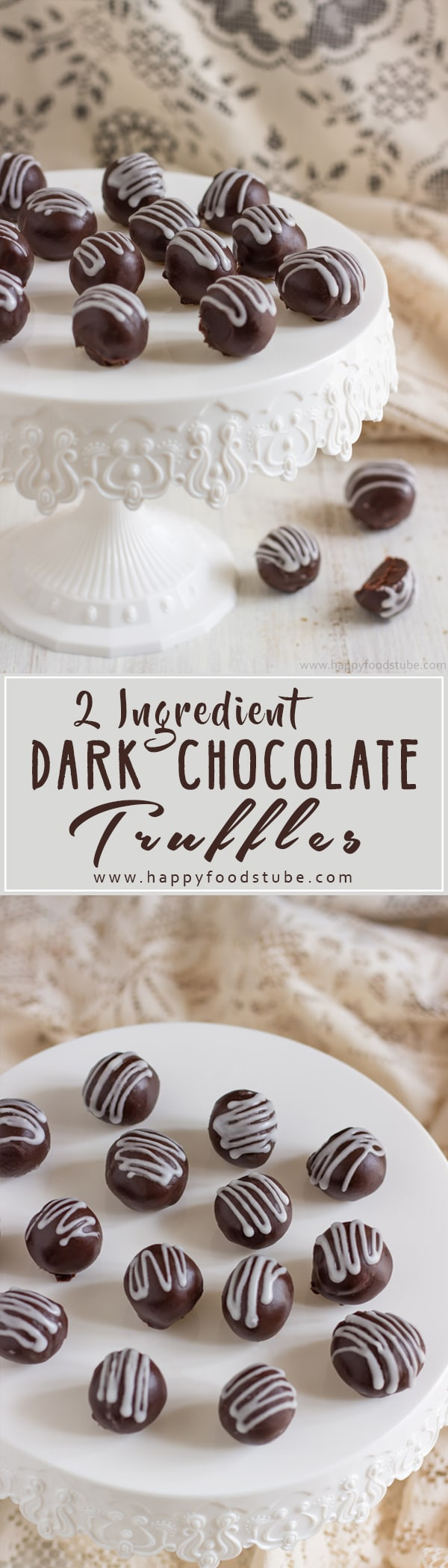 Homemade 2 Ingredient Dark Chocolate Truffles are rich, creamy and so tasty. Make them for Christmas, New Year's Eve party or gift them