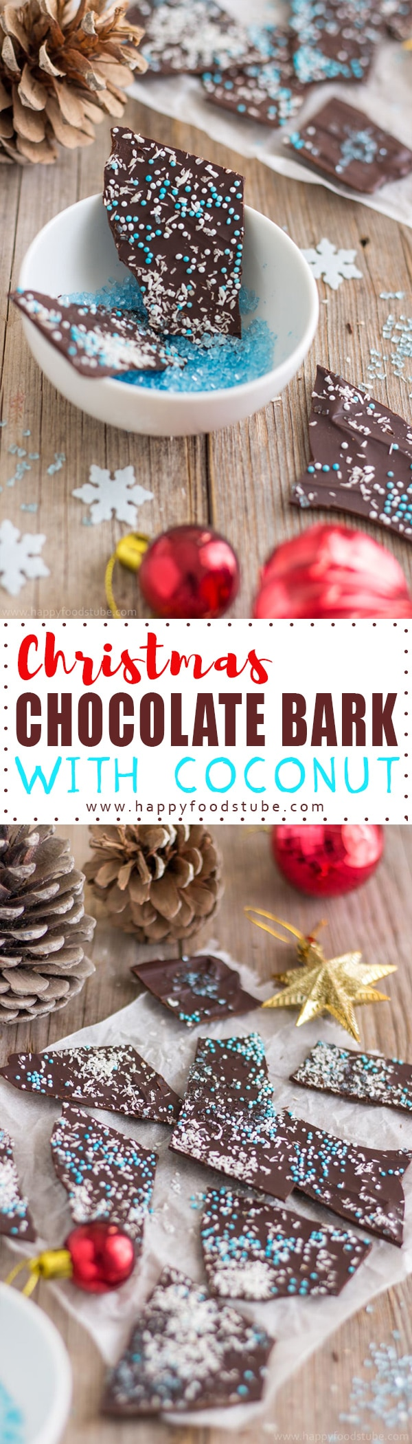 Christmas Chocolate Bark with Coconut. An edible Christmas gift idea for any chocolate lover out there. Ready in 10 minutes! | happyfoodstube.com