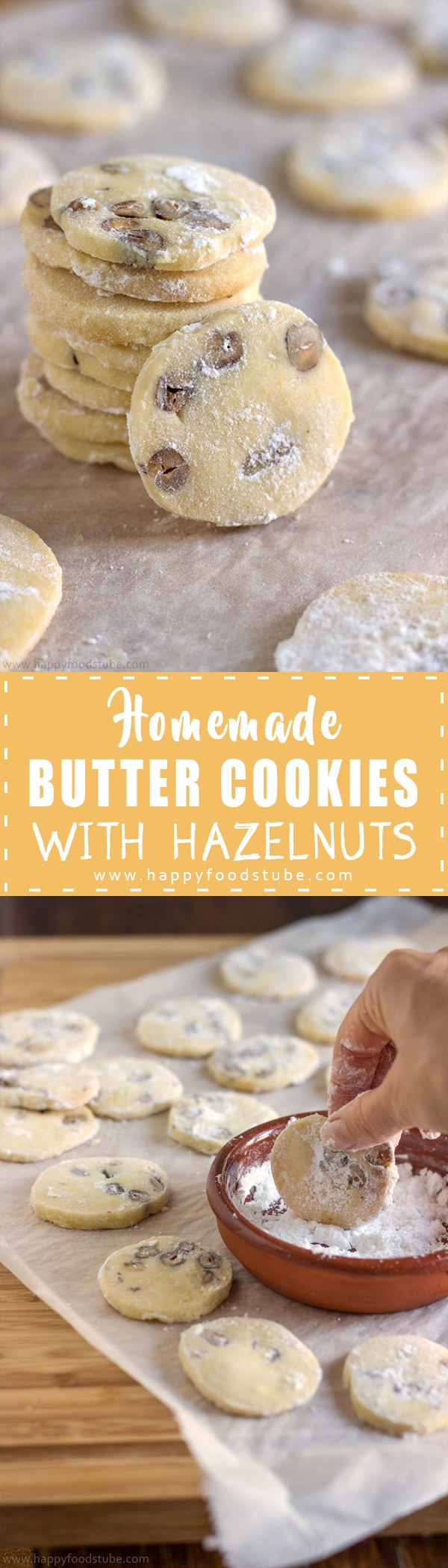 These butter cookies are hard to resist once you've tasted one! Rich, buttery cookies with pieces of hazelnuts & coated in sugar are also a great gift idea! | happyfoodstube.com
