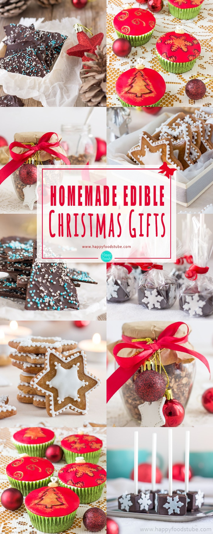 Are you looking for homemade edible Christmas gifts? These sweet treats wrapped in festive packaging make great gifts for your family and friends! #homemade #edible #christmas #gifts #holidays #inexpensive #stockingstuffers #DIY #easy #xmas