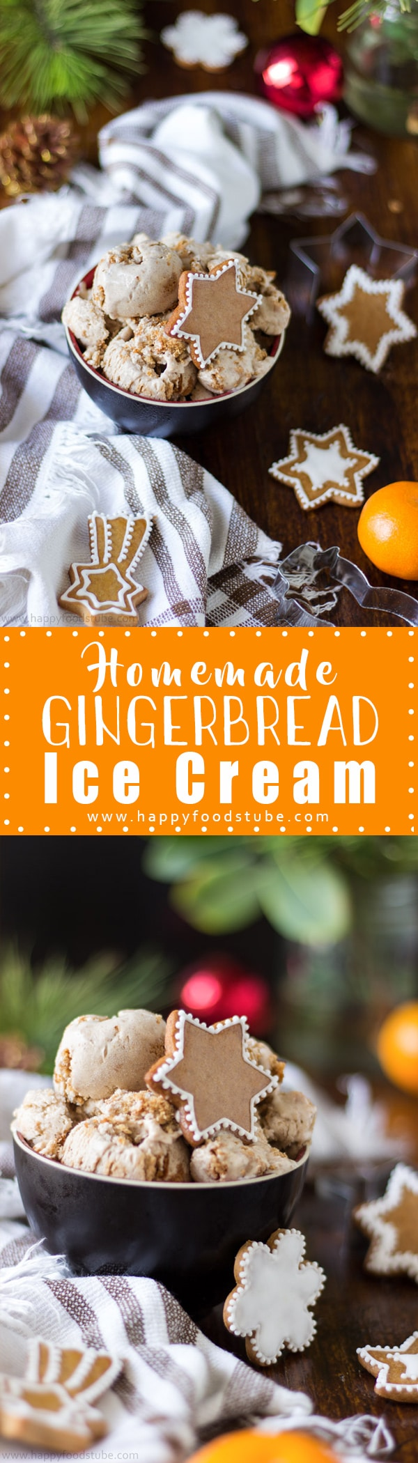 Planning on baking gingerbread cookies? Why not make gingerbread ice cream as well? Super easy rcipe only 5 ingredients. Ready in 15 minutes | happyfoodstube.com