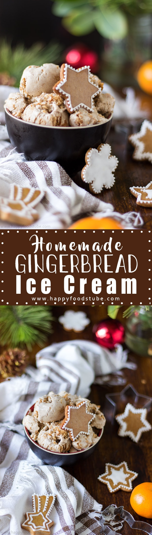 Planning on baking gingerbread cookies? Why not make gingerbread ice cream as well? It's a perfect Christmas treat with pieces of gingerbread cookies inside | happyfoodstube.com