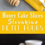 Rich & Creamy Petit Fours Recipe. Thin Layers of baked honey flavored pastry are filled with pudding filling, jam and finished off with a coat of chocolate glaze! | happyfoodstube.com