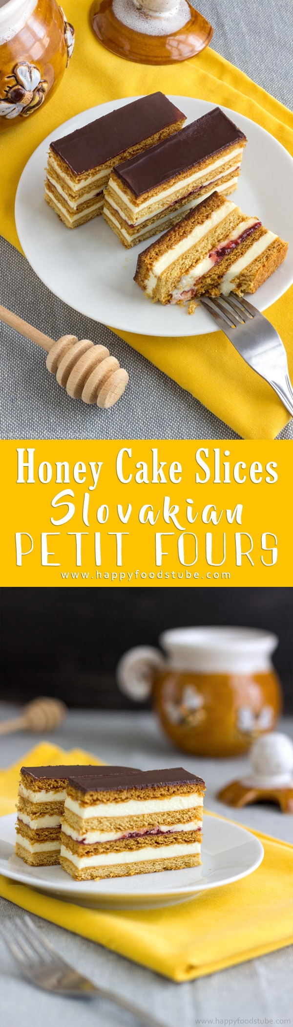 Rich & Creamy Petit Fours Recipe. Thin Layers of baked honey flavored pastry are filled with pudding filling, jam and finished off with a coat of chocolate glaze. #petitfours #honeycake #chocolate #desserts #baking #howtomake #slovakian #cakes #recipes