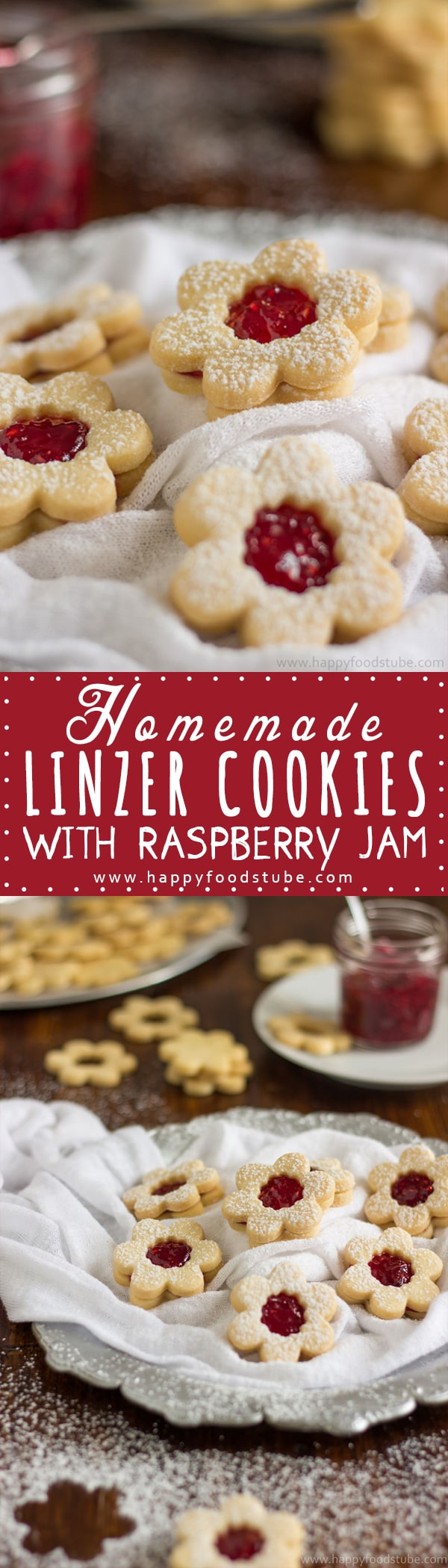 Homemade Linzer Cookies with Raspberry Jam Recipe. Their rich buttery taste that goes so well with raspberry jam makes them perfect treats for afternoon tea. Only 5 ingredients and ready in 20 minutes