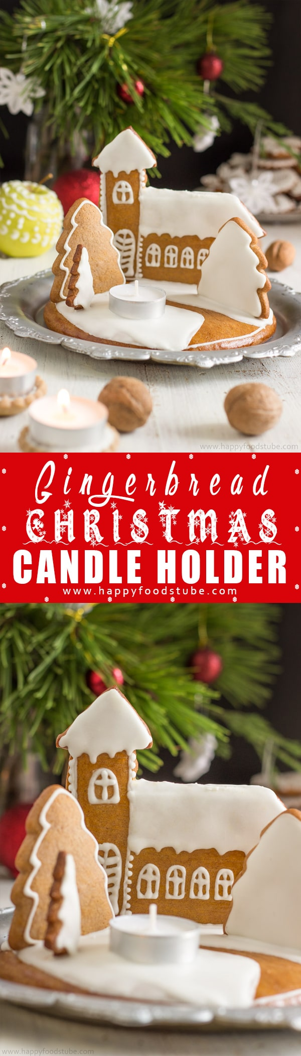 Get into the Holiday spirit by making gingerbread Christmas candle holder. This lovely DIY centrepiece is easy to make and smells amazing! | happyfoodstube.com