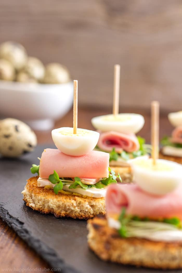 Quail Egg and Goat Cheese Pinchos Bites - New Years Eve Party Food Ideas | happyfoodstube.com