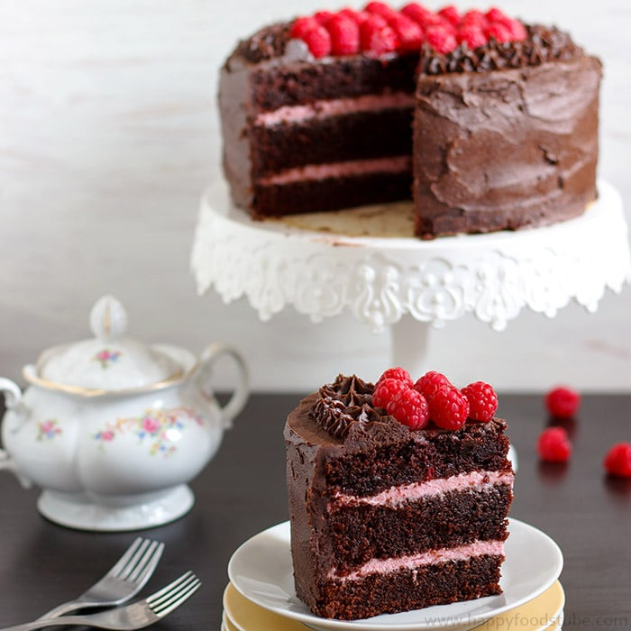 Red Wine Chocolate Raspberry Cake - 16 Most Popular Recipes 2016 | happyfoodstube.com