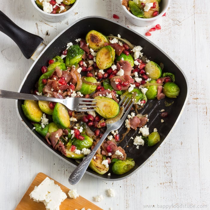 Pan Roasted Brussels Sprouts Salad with Prosciutto | happyfoodstube.com