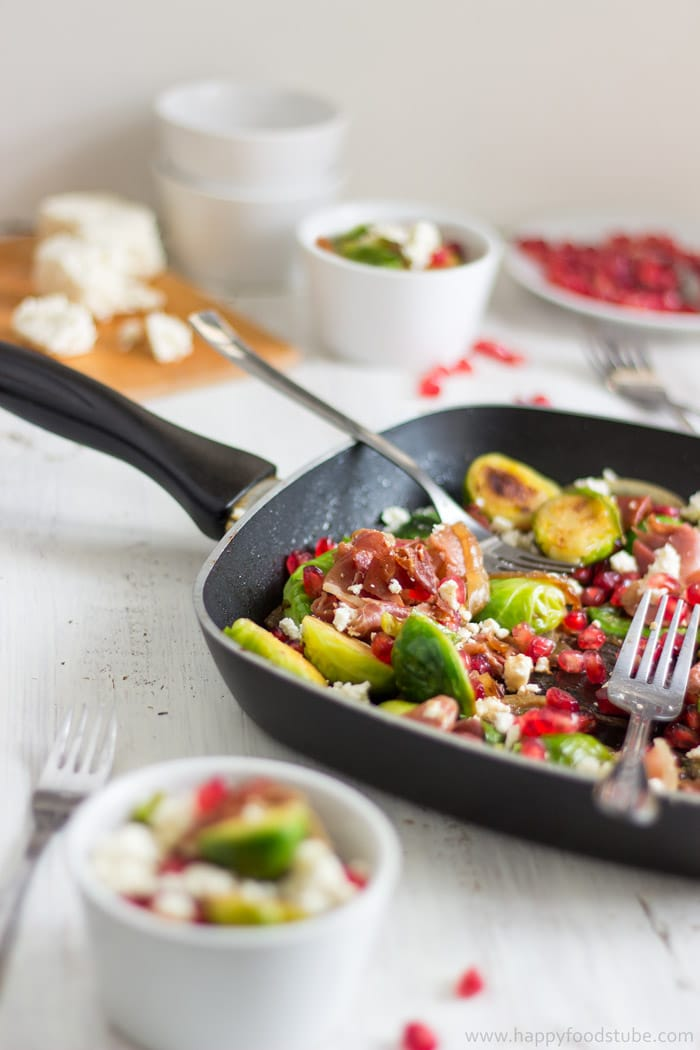 Pan Roasted Brussels Sprouts Salad with Prosciutto. Perfect Appetizer Recipe.   happyfoodstube.com