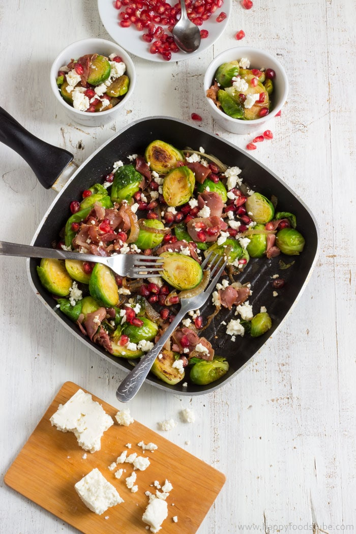 Pan Roasted Brussels Sprouts Salad with Prosciutto Recipe | happyfoodstube.com
