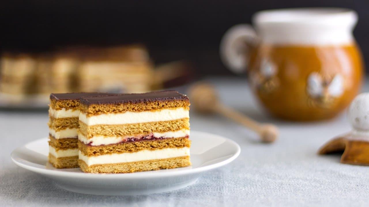 Honey Cake Slices Slovakian Petit Fours Recipe