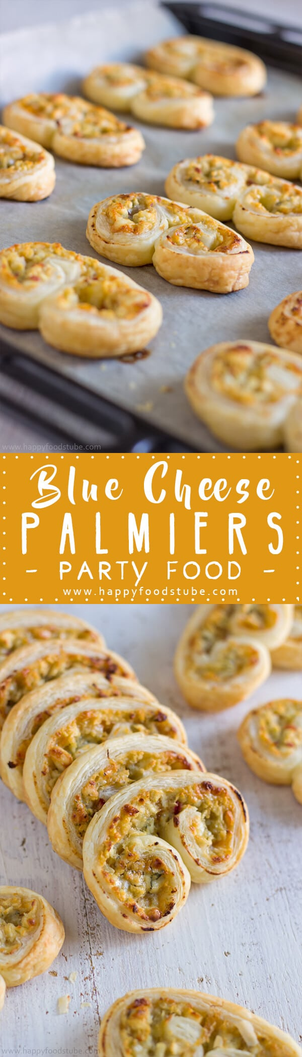 Blue Cheese Palmiers Recipe - This quick finger food recipe takes less than 30 minutes & will surprise you with its savory & sweet filling