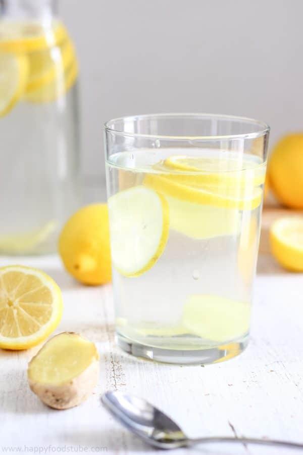Body Cleansing Lemon Ginger Water. Easy Detox Recipe, Only 2-Ingredients | happyfoodstube.com