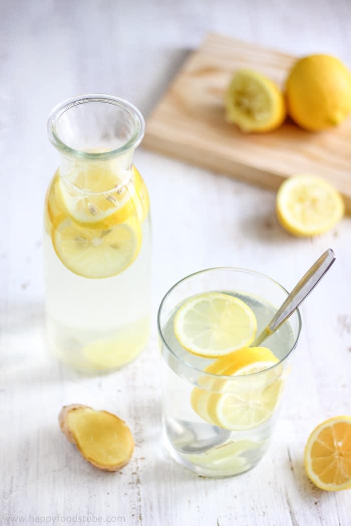 Body Cleansing Lemon Ginger Water. Detox Recipe   happyfoodstube.com