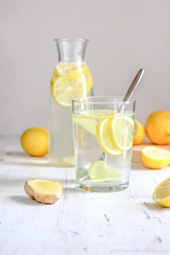 Body Cleansing Lemon Ginger Water Recipe | happyfoodstube.com