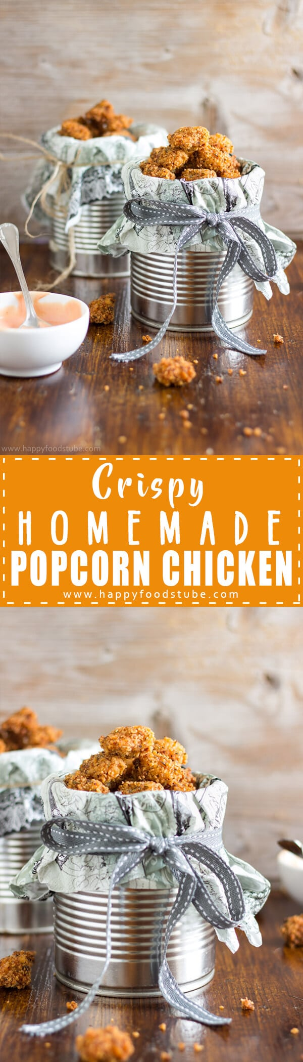 Crispy Homemade Popcorn Chicken - Crispy homemade popcorn chicken. A very easy recipe for this popular and delicious snack. Chicken pieces coated in breadcrumbs & served with yummy dip. | happyfoodstube.com