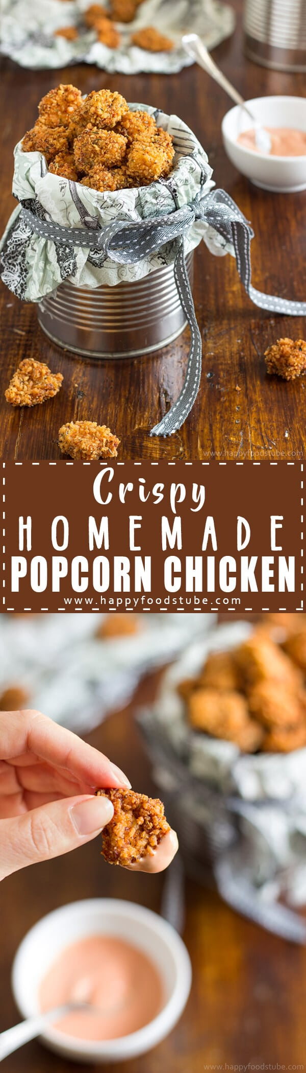 Crispy Homemade Popcorn Chicken - Easy recipe for this popular and delicious snack. Chicken pieces coated in breadcrumbs & served with yummy dip