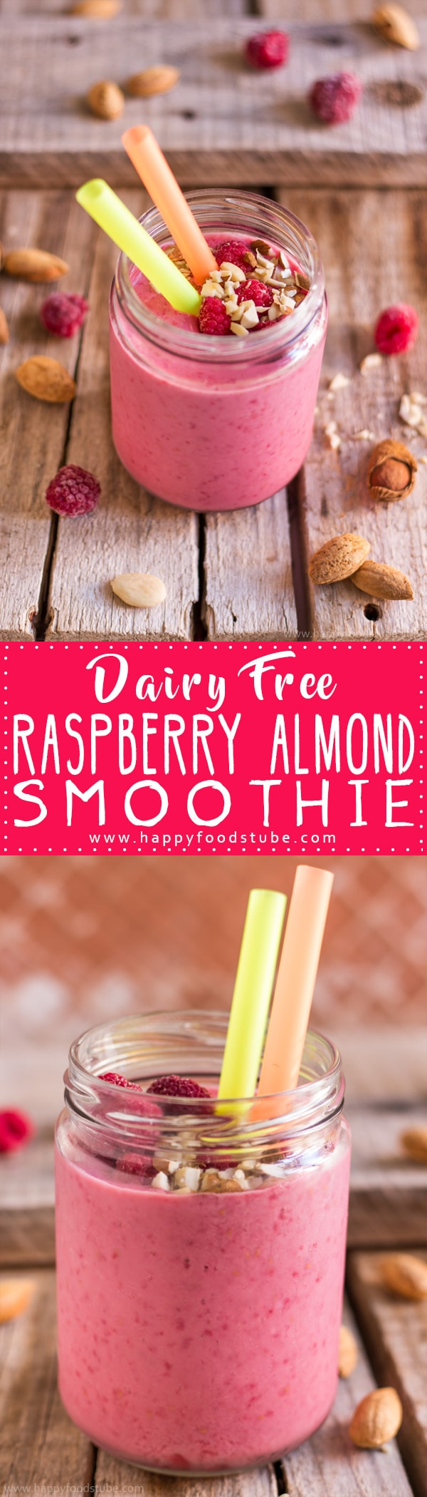 Raspberry Almond Smoothie is a great choice for those looking for dairy free alternatives but also for those who like almond milk or want to stay healthy! Only 4-ingredients and ready in 5-minutes. | happyfoodstube.com