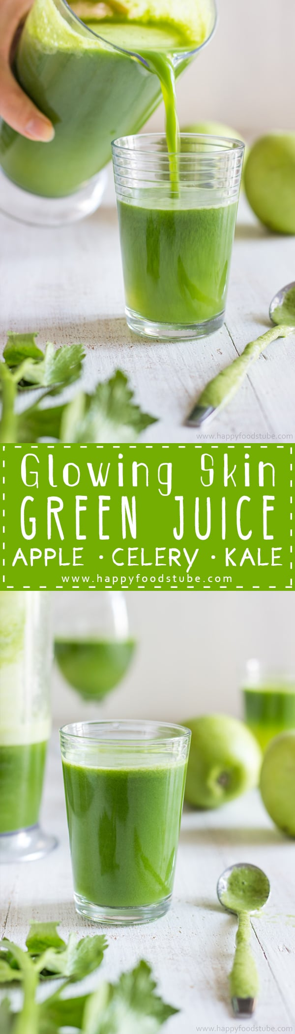 This Green Juice recipe is an easy way to give your skin the glow you are after. No preservatives, only 3 ingredients and 5 minutes to make. Homemade juicing recipe