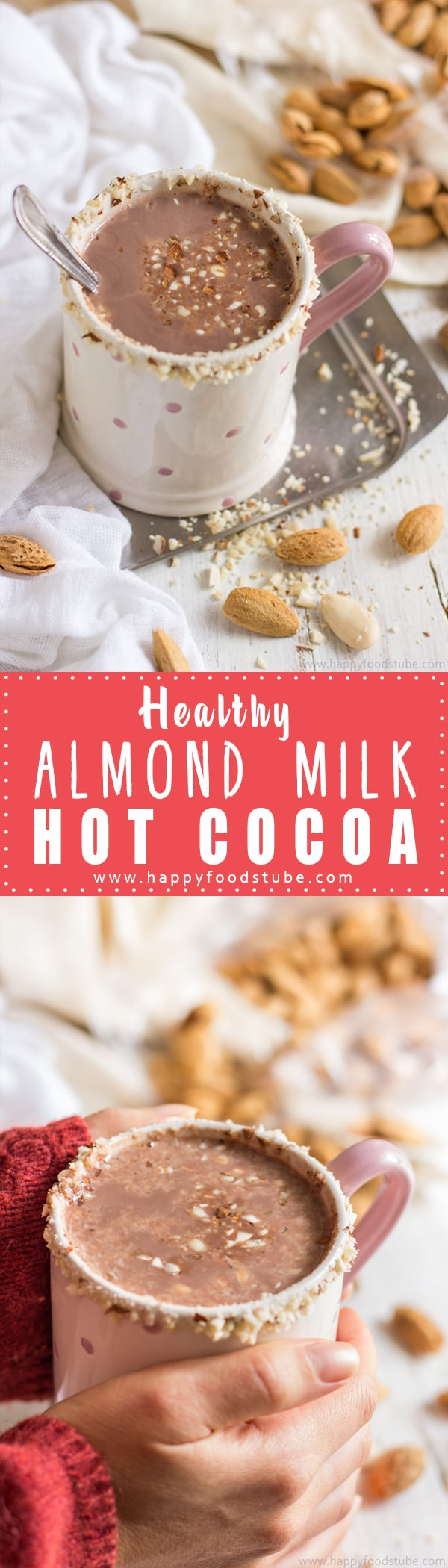Healthy Almond Milk Hot Cocoa Recipe - 5 minutes & 4 ingredients is all what it takes to enjoy a cup of this guilt-free deliciousness. And it's vegan & dairy-free! | happyfoodstube.com