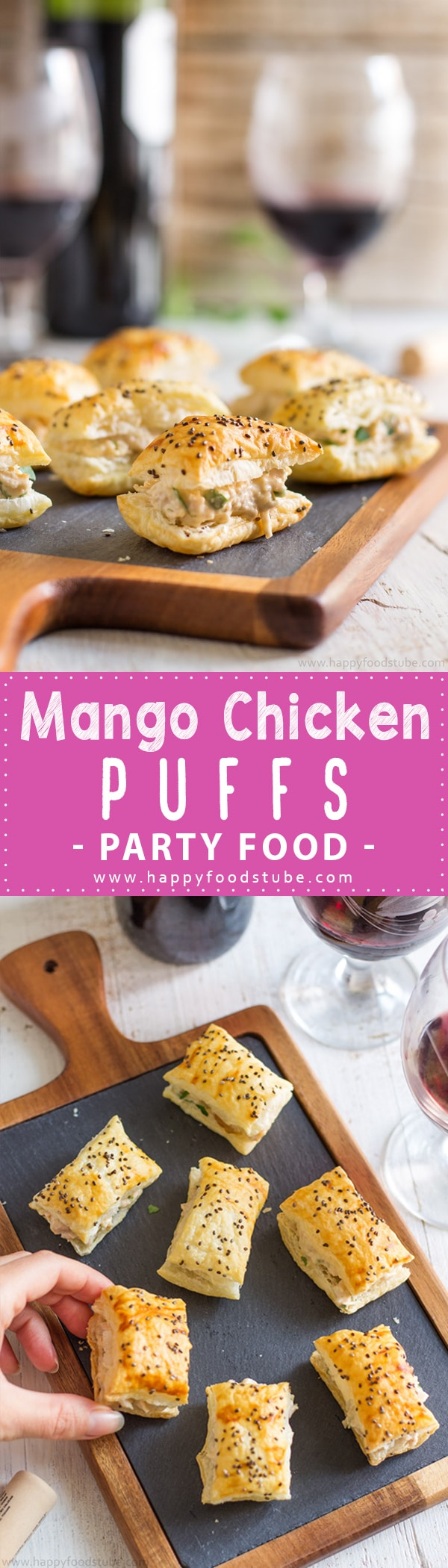 Mango Chicken Puffs Appetizers - Easy Party Food Recipe | happyfoodstube.com