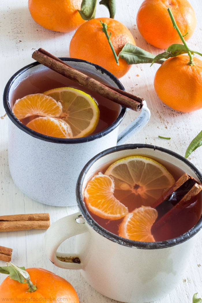 Mulled Mixed Fruit Cider with Mandarins. Perfect drink for cold days!   happyfoodstube.com