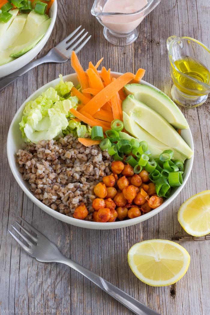 Nourishing Buddha Bowl. Super healthy vegetarian meal recipe   happyfoodstube.com