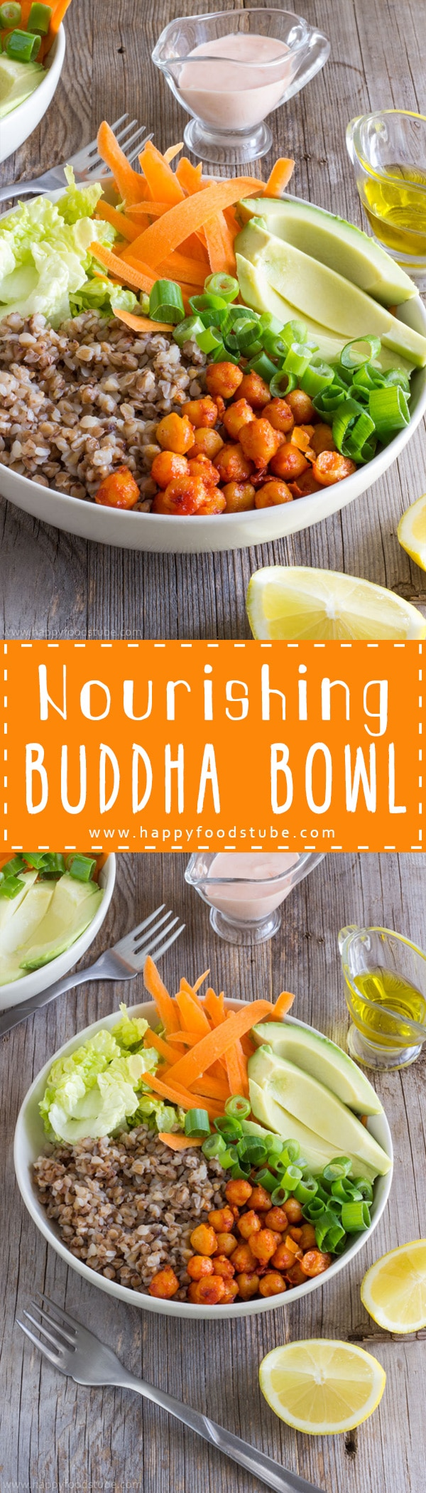 Nourishing Buddha bowl is a light and nutrient rich meal. It's perfect for a quick lunch and the best thing is that it can also be made ahead! | happyfoodstube.com