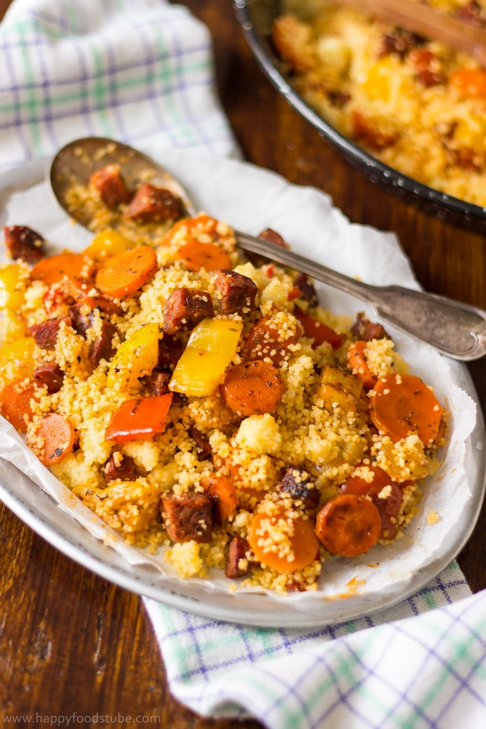 Roasted-Vegetable-Couscous-with-Chorizo