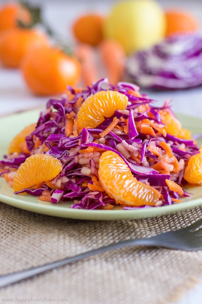 Vitamin Packed Red Cabbage Salad Recipe. Only 5 Ingredients and ready in 10 minutes   happyfoodstube.com