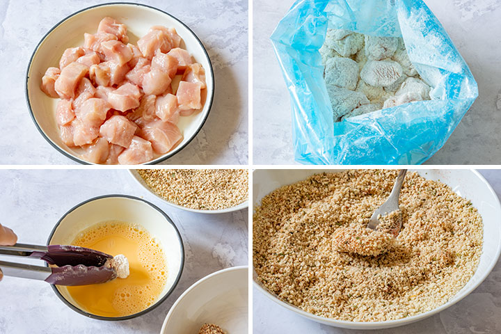 Step by step image collage how to make poopcorn chicken
