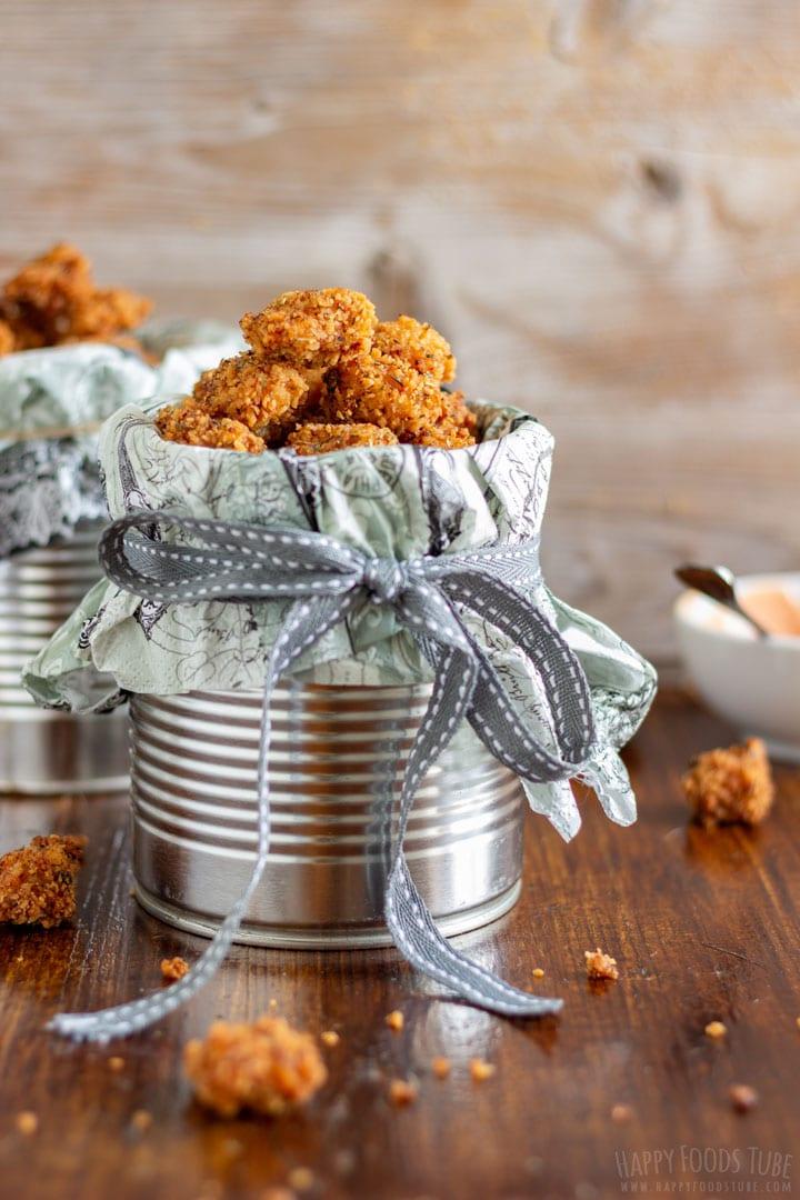 Chicken popcorn in the metal jar