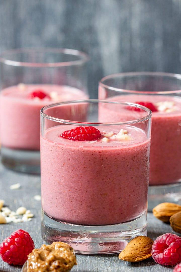 Dairy-free raspberry smoothie with almond milk