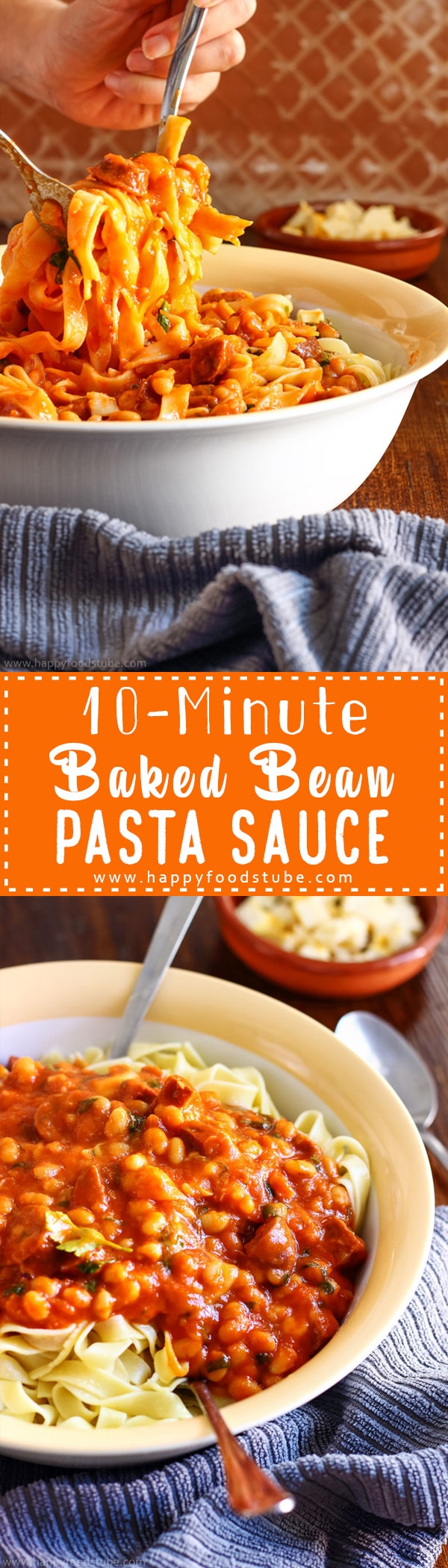 10-Minute Baked Bean Pasta Sauce for busy families. Great recipe for weeknight supper. Simple ingredients and really delicious