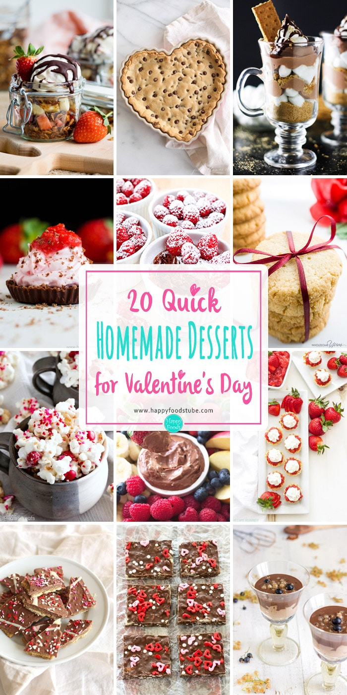20 Quick Homemade Desserts for Valentine's Day. Mousse desserts, cookies, parfaits, puddins, truffles, dips & much more! Ready in 30 minutes or less. #valentinesday #desserts #homemade #quick #sweet