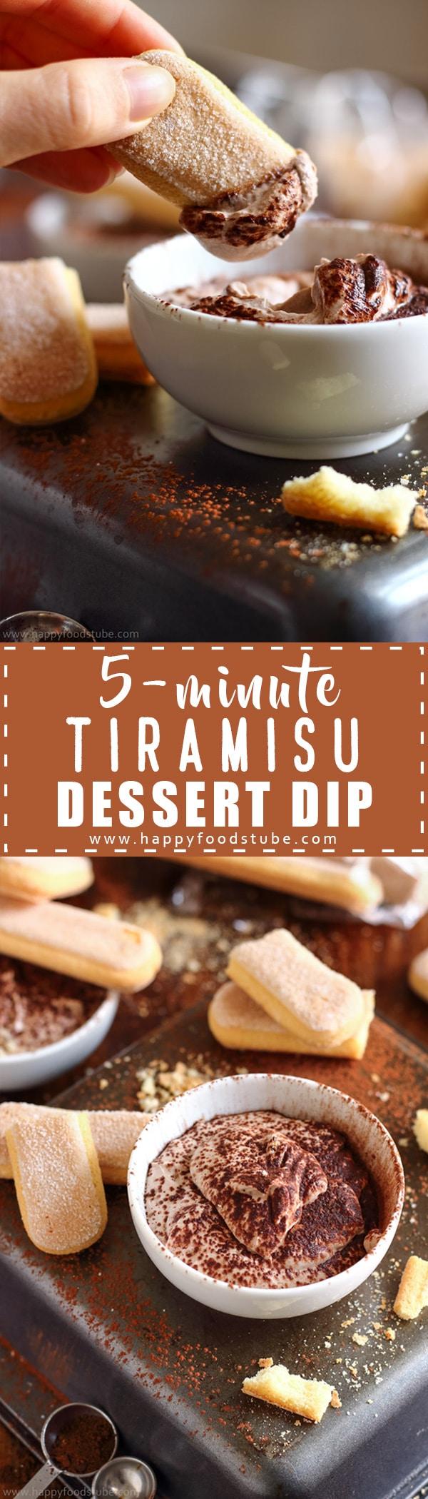 Easy 5-minute tiramisu dessert dip recipe. This rich & creamy dip made with mascarpone, cream, cocoa & coffee tastes like real tiramisu
