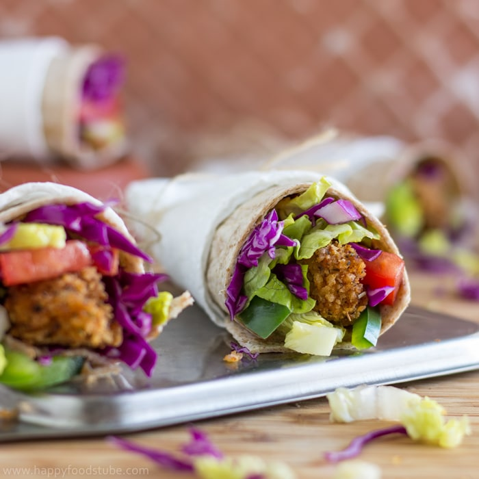 Whole Wheat Crispy Popcorn Chicken Wrap - HappyFoods Tube