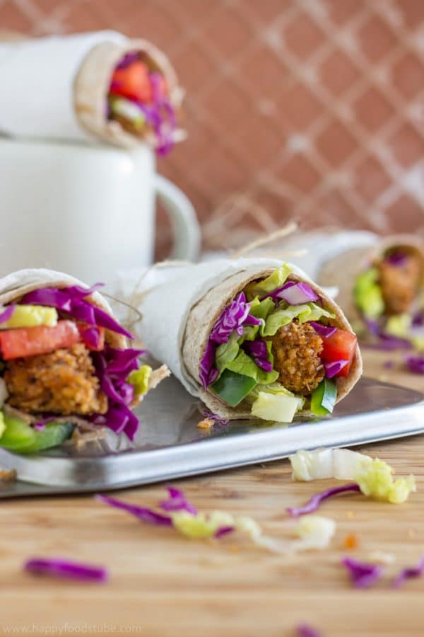 Whole Wheat Crispy Popcorn Chicken Wrap Recipe. Ready to go in just 30-minutes.
