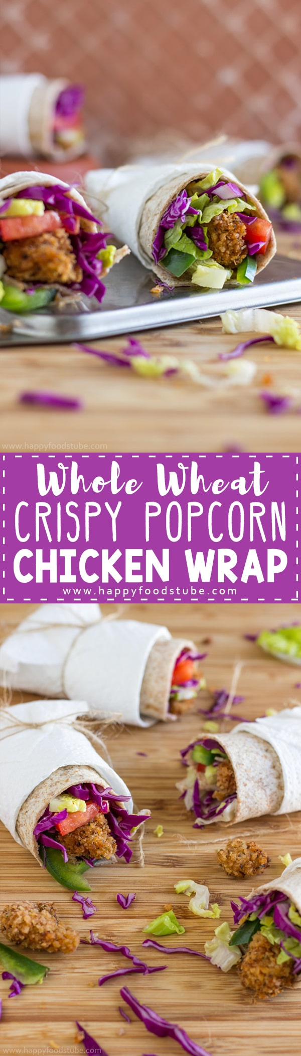 Whole Wheat Crispy Popcorn Chicken Wrap. Homemade popcorn chicken, lots of vegetables all wrapped in whole wheat tortilla. Great snack or light lunch