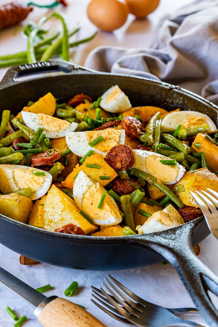 Spanish chorizo and potato salad with eggs and green beans