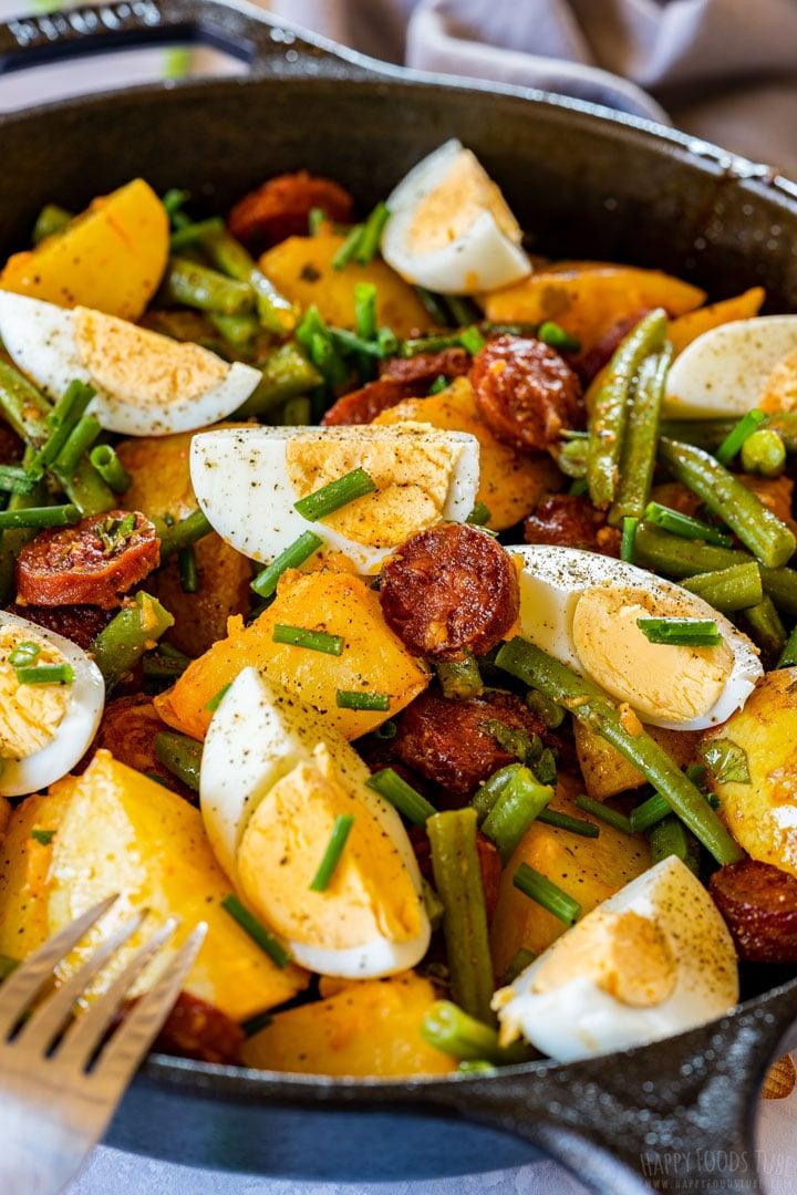 Spanish chorizo potato salad close-up
