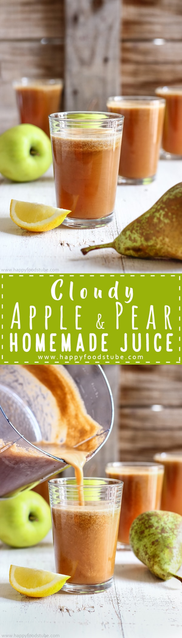 Healthy cloudy apple pear juice recipe. Nothing is better than a glass of homemade fresh juice. Easy juicing idea. Only 2-ingredients, ready in 5-minutes and tastes amazing