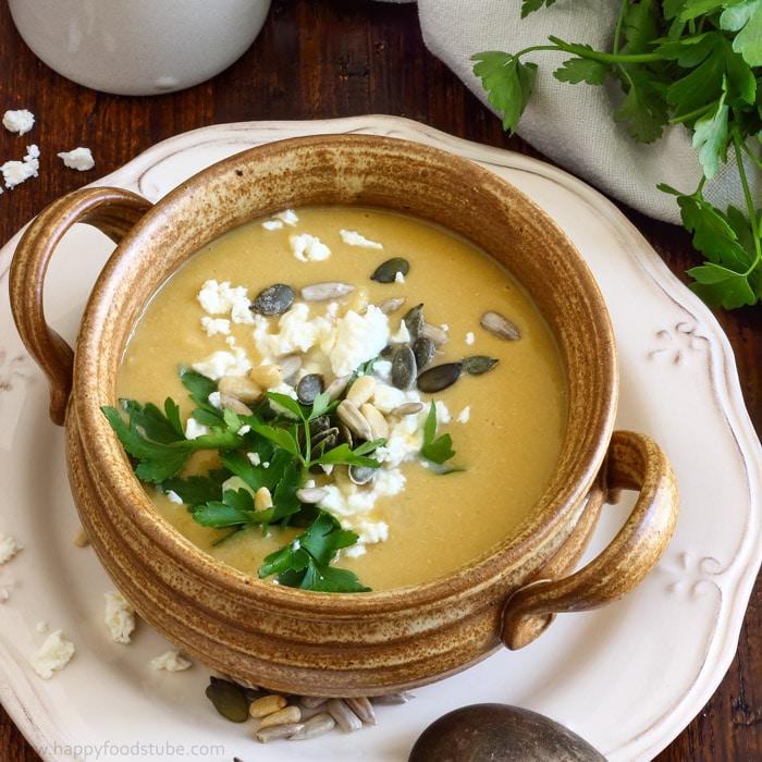 Creamy Chickpea Soup with Coconut Milk & Feta